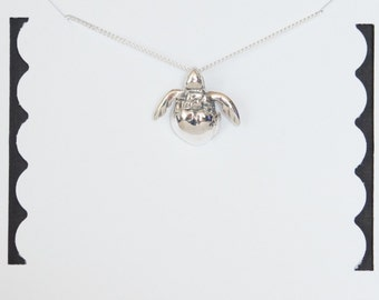 Sterling Silver Turtle Necklace, Baby Turtle Necklace, Nautical Necklace, Beach Necklace, Birthday Gift, Children's Jewelry, Kids Jewelry