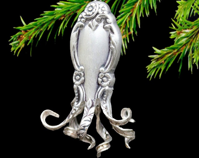 Ornamental Octopus Ornaments! Coastal Christmas Perfection! Holloware Knife Handle Crafted Ornate Tentacled Silver Beauty, Gift To Treasure