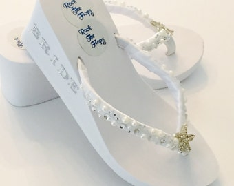 White Wedding Flip Flops/Wedges.3 inch Bride Flip Flops. White Flip Flops. Rhinestone wedding shoes. Rhinestone Bridal Shoes.
