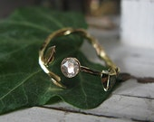 Diamond Twig Ring 14K Colored Gold Leaf Promise Ring Unique Engagement Ring Gold Branch Rose Cut Diamond