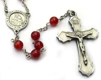 St Peregrine Catholic Rosary Beads Carnelian
