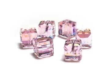 Swarovski Cube Beads 5601 Rosaline AB 6mm