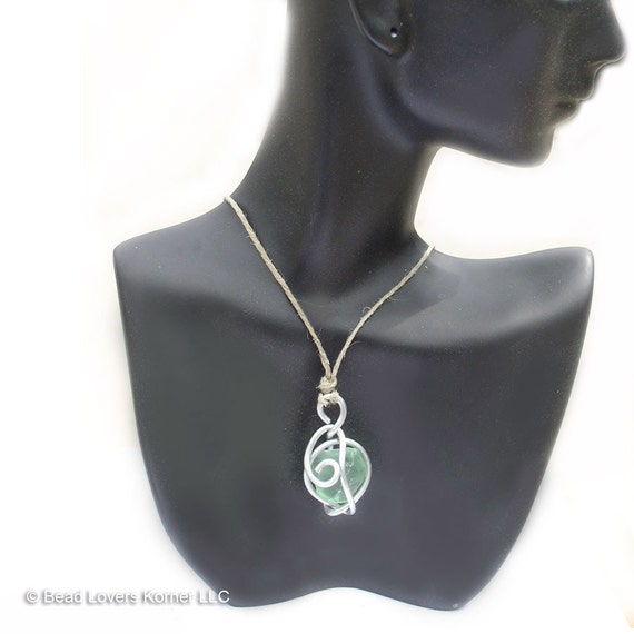 Green Sea Glass Necklace Wire Wrap