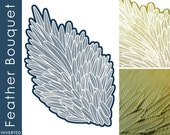 Mandarin Duck Texture Stamps - Feather Bouquet Inverted (for polymer clay, papercrafts, inks, porcelain, silver clay)