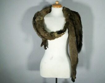 Vintage 1940s Mink Fur Wrap Collar -  Fur Stole - 40s Mink Shawl