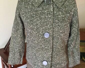 Vintage 1950's Black and White Wool Tweed Short Jacket