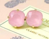 Rose Quartz earrings,Pink Stud Earrings,Pink Swarovski earrings,Bridesmaids Pink earrings,Bridesmaids earrings,gift for her,Pink Opal studs