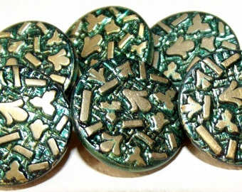Antique Buttons 6 Green tinted Metal Paris 1882 Back Mark