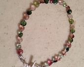 Watermelon Tourmaline Bracelet - Pink and Green - Gemstone Jewellery - Sterling Silver - Fashion - Trendy - Beaded