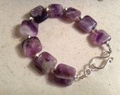 Purple Bracelet - Amethyst Gemstone Jewelry - Sterling Silver Jewellery - Fashion - Beaded - Chunky