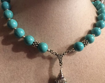 Turquoise Necklace - Gemstone - Statement - Silver Jewelry - Pendant Jewellery - Fashion - Beaded - Gift