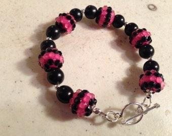 Hot Pink Bracelet - Black Jewelry - Sterling Silver Jewelry - Beaded Jewellery - Fashion - Trendy - Chic