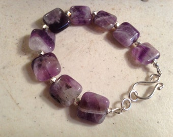 Purple Bracelet - Amethyst Gemstone Jewelry - Sterling Silver Jewellery - Fashion - Beaded - Chunky - February Birthstone