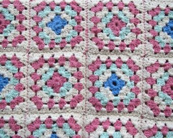 Vintage Granny Square afghan/throw/ pink and white and blue/aqua blue