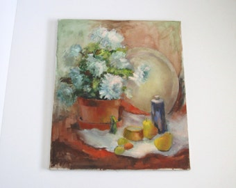 Vintage original oil painting/ still life with flowers/ soft blue and terra cotta