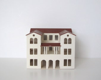 Vintage miniature house/ architectural model/ balsa wood and cardstock house