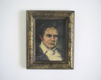 Vintage oil portrait/ man's portrait/ Beethoven/ mid century painting/original artwork signed