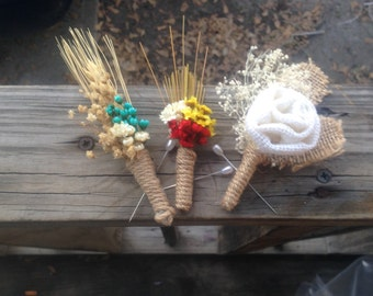 Rustic Chic Boutonniere - Natural Preserved Dried Flower Boutonniere, Wedding Boutonniere, Rustic, For Him, Hand Made