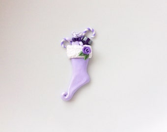 Miniature Christmas stocking in lilac with toys and candy canes handmade from polymer clay