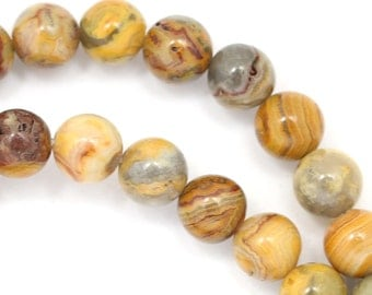 Old Crazy Lace Agate Beads - 8mm Round
