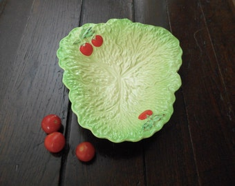 Vintage Cabbage Leaf Bowl Green Red Tomatoes Beswick Ware England