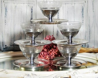 Antique Clear DEPRESSION Glass insert Sherbet/pudding/ Dessert Cups Chrome Base~ SILVERPLATED Saucers ~10 PIECE