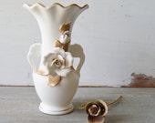 Vintage White Porcelain Floral Vase - Lego