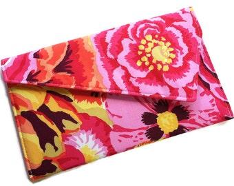 Envelope Clutch Purse, Bridesmaid Clutch, Summer Clutch - Pink Orange Yellow Flowers