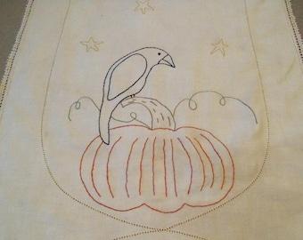 Bountiful Harvest Stitchery on Vintage Linen Primitive Country