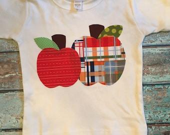 Apple Shirt, Boy Back to School Shirt-  You Choose Shirt Color and Sleeve Length