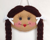 Doll Face Hair Clip Holder - Medium Skin with Chocolate Brown Hair - Custom Hair Clip Holder - Felt Hair Clip Holder - Barrette Holder