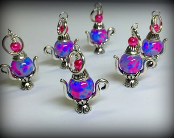 Spotted Teapot Stitch Markers- Snag Free Pink & Blue Beaded Knitting Markers- Gifts for Knitters