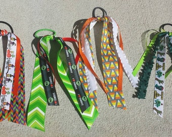 Candy corn, zombies and witchy owls streamer ribbons