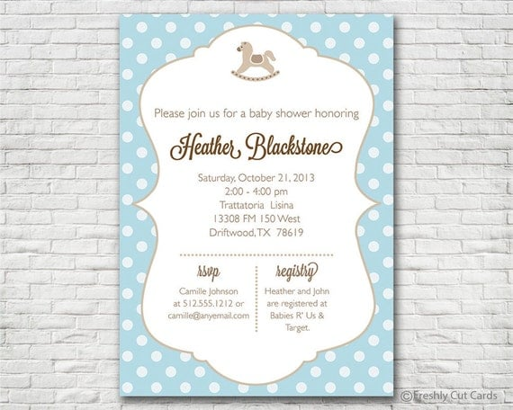 Rocking Horse And Polka Dots Baby Shower Invitation Printable Or