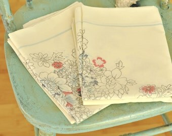 1950's Vintage Pillow Cases Set Pair Dark Pink & Blue Flowers w/ Blue Border Mid Century Linens Delicate Floral on Ecru