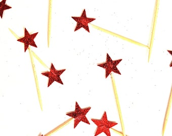 24 Petite Red Glitter Star Cupcake Toppers - Food Picks - Party Picks