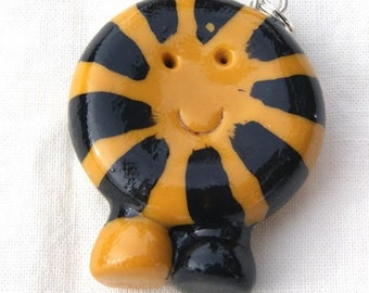 Smiling Tiger Circle-shape Critter necklace charm, polymer clay