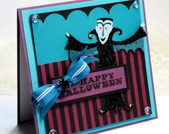 "Halloween Card - 3D Handmade Greeting Card - 5.25 x 5.25"" Happy Halloween - 3D Card Dracula Vampire Cute Purple Black Blue Holiday OOAK"