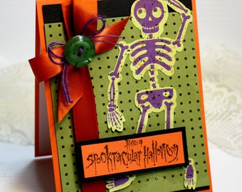 "Halloween Card - 3D Handmade Greeting Card - 4.25 x 5.5"" - Have a Spooktacuar Halloween - Skeleton Orange Green Holiday Stampin Up - OOAK"