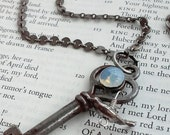Antique Skeleton Key of the Moon Luna Opalite Stone Antique Silver Tone Jewelry Necklace