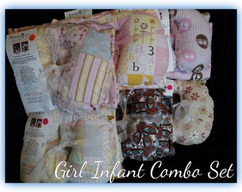 Travel Pillow - Blanket, Infant Neck Support - Slip Cover Combo Set - Girl Prints