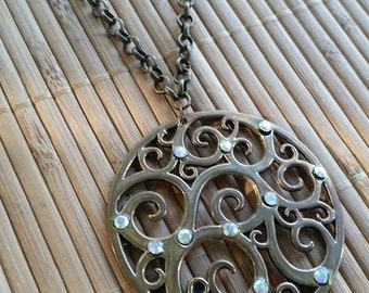 Wisteria Necklace in Aged Brass w/Rhinestone Swirl Pendant-Bold-Hippie-Bohemian-Circle-Zen-woodland-Simple-Statement-Fantasy-Edwardian-Folk
