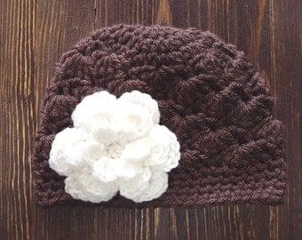 Girls Hat, Brown and Cream Girl Hat, Newborn Girl Hat, Crochet Baby Hat, Crochet Girls Hat, Baby Girl Hat, Baby Hat for Girls
