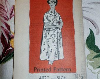 Vintage 1980s Mail Order Pattern 4927 for Misses Dress, Duster Size 14 1/2, Factory Folds