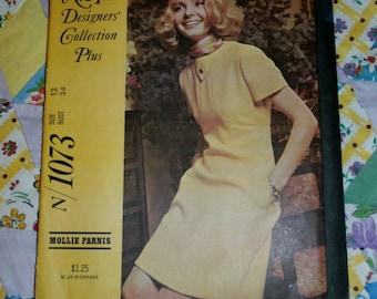 "Vintage 1969 New York Designers Collection Dress Pattern 1073 Sz 12, Bust 34"", Waist 25 1/2"", Hip 36"""