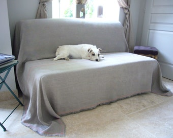 Linen couch cover -Sandy- pet couch cover, large bedspread, taupe natural grey linen, Eco- friendly linen,