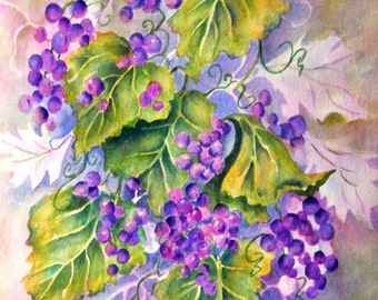 STUDIO SALE - Watercolor of Purple Grapes and Leaves by Artist Martha Kisling