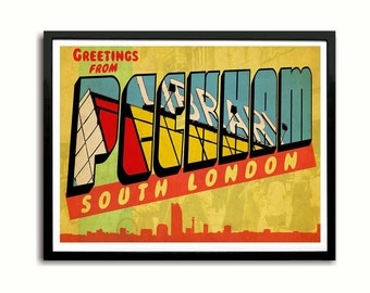 Peckham, South London Postcard Style Art Print