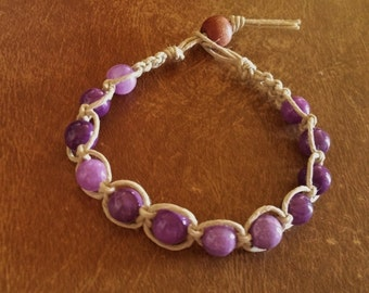 Amethyst Beaded Bracelet Tan Hemp Handmade Purple