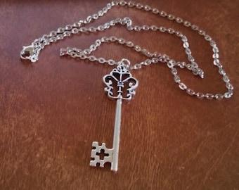 Handmade Victorian Silver Skelton Key Pendant Necklace.